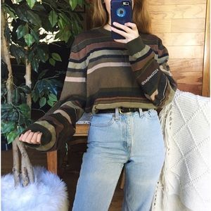 🌿 Vintage Eddie Bauer Earthy Striped Knit Sweater
